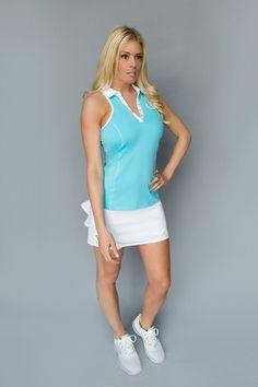 Racerback Golf Polo - Bright Teal Blue