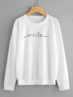 Shop Drop Shoulder Letter Print Sweatshirt at ROMWE, discover more fashion styles online. Cute Sweatshirts, Printed Sweatshirts, Cute Shirts, Hoodies, Trendy Fall Outfits, Cool Outfits, Fashion Outfits, Cheap Clothing Sites, Vetement Fashion