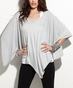 Look what I found on #zulily! Heather Gray Stripe Roxie Poncho by TART Collections #zulilyfinds