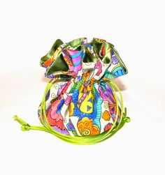 Drawstring Jewelry Bag Pouch Jewelry organizer Red and green