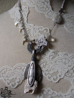 Mixed Media Assemblage Spoon Necklace with by artefactredux