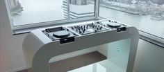 High gloss white DJ booth with cdj2000 and djm 2000