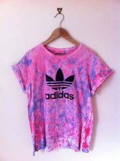 adidas trefoil vintage tie dye t-shirt in pink and blue