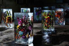 Beautiful flower bouquets frozen in blocks of ice by Makoto Azuma