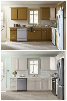 Small Kitchen Makeover new kitchen cupboard - Will you consider cabinet refacing ideas? if you're looking to give your cabinets a refacing, have a look at these primary Kitchen Cabinet Refacing Ideas. Diy Kitchen Cabinets, Kitchen Redo, New Kitchen, Refinish Cabinets, Kitchen Refacing, Country Kitchen, Diy Kitchen Makeover, Kitchen Sinks, Vintage Kitchen