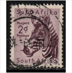 South Africa Scott 203 - SG154, 1954 Zebra 2d used stamps sur le France de eBid