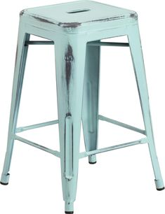 This distressed stool will add a modern industrial appearance to your home or work space. This space-saving stool is stackable making it great for storing. A cross brace underneath the seat adds extra stability and features protective caps that prevent the finish from scratching when stacked. The frame is designed for all-weather use making it a great option for indoor and outdoor settings. For longevity, care should be taken to protect from long periods of wet weather. The legs have…
