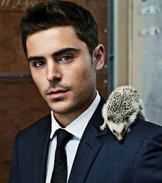 Zac efron & a Hedgehog <3