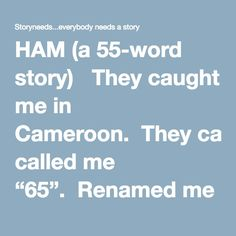 "HAM (a 55-word story)   They caught me in Cameroon.  They called me ""65"".  Renamed me ""Ham"" when I came back from space.  I live in a Zoo now.  I tell the other chimpanzees that I orbited the earth inside a metal cage with a window.  They laugh.  They don't believe me.  Some days, I struggle to believe it too.    Alberico Collina"