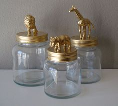 Gold storage jars: lion, giraffe, and hippo   Could use these for cotton swabs, band aids, etc.