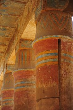 Colorful Columns of Medinet Habu, the name commonly given to the Mortuary Temple of Ramesses III, an important New Kingdom period structure in the location of the same name on the West Bank of Luxor in Egypt. Wikipedia