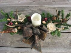 Rustic Christmas centerpiece with antlers