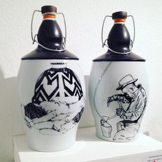 Possibly my 2 favorite growlers at #growlerfest Artist @bradleyklemceramics made the growlers and designed the decal image on the right. @laurengallaspy designed the oh so lovely image on the left. #want #growlers #ceramics #beer by jillidavisceramics