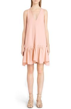 CHLOÉ Ruffle Hem V-Neck Shift Dress. #chloé #cloth #