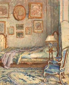 ◇ Artful Interiors ◇ paintings of beautiful rooms - Ethel Sands - Bedroom Interior, Auppegard, France