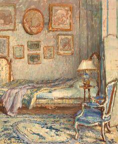 ◇ Artful Interiors ◇ paintings of beautiful rooms - Ethel Sands - Bedroom…