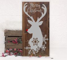 Christmas Reindeer Vinyl Wood Sign 12x24 By HDVinylDesigns