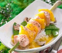 Rezept Orangen-Lachs-Spieß zu Jasminreis von Thermomix Rezeptentwicklung - Rezept der Kategorie Hauptgerichte mit Fisch & Meeresfrüchten