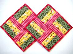 "Quilted Mug Rugs, Placemats, Snack Mats, Christmas Trees and Teddies 9""x9"""