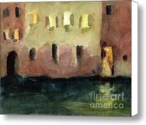 Yellow Windows at Night Watercolor Painting of Venice Italy Canvas Print / Canvas Art - Artist Be...