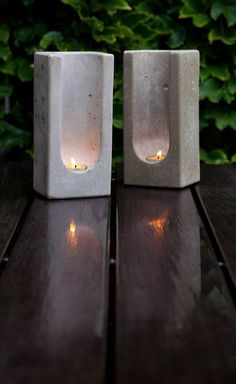 """Concrete tealight totems - made """"with a pleasing heft that is uncommon today."""" It's true."""