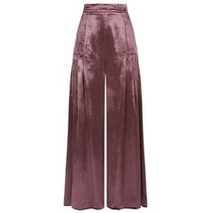 Temperley London Breeze Trousers found on Polyvore featuring pants, capris, trousers, bottoms, cropped, purple, pleated cropped trousers, velvet pants, cropped trousers and lightweight pants
