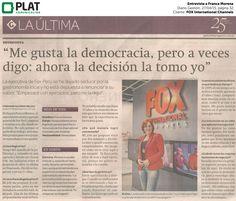 FOX International Channels: Entrevista a Franca Morena en el diario Gestión de Perú (27/04/15)