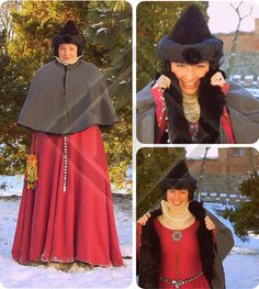 14th century Short Women's Cape Lined with Rabbit by LadyMalinaCom