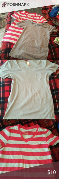 2cute grey t-shirts:Avia,no boundaries workout(grey&pink) and buttoned/ribbed.striped is sold No Boundaries Tops Tees - Short Sleeve