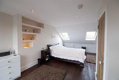 bedroom with hardwood flooring in a Loft conversion NW london Loft Conversion Layout, Loft Conversion Gallery, Loft Conversion Bedroom, Attic Conversion, Loft Conversions, Attic Loft, Loft Room, Bedroom Loft, Tiny Loft