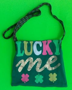 LUCKY ME/green/reversible/cross shoulder bag/one of a kind/exclusive by handbags, art, paintings,side bags, upcycled, fashion, barbie