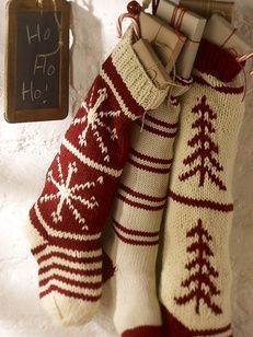 Decorating Ideas of 10 Stockings for Christmas Small Gifts on 2011 Fireplace : Hand Knit Bell Stocking Knitted Christmas Stocking Patterns, Knitted Christmas Stockings, Christmas Knitting, Crochet Stocking, Christmas Mood, Noel Christmas, Christmas Crafts, Christmas Things, Rustic Christmas