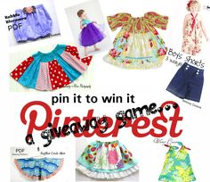 ONLY tonight you can win 3 patterns of choice by pinning THIS picture to your patterns boards! Must tag Whimsy Couture! View pattern selection here: www. Grace Clothing, Clothing Patterns, Clothing Ideas, Sewing Hacks, Sewing Ideas, Sewing Projects, Childrens Sewing Patterns, Sewing For Kids, Diy Ideas