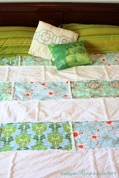 rag quilt with different size blocks