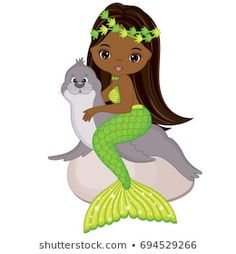 Vector cute little mermaid with fur seal. Mermaid Mermaid, Black Mermaid, The Little Mermaid, Black Girl Art, Art Girl, Kids Cartoon Characters, Mermaid Clipart, Mermaid Coloring Pages, Mako Mermaids