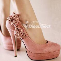 Pink suede bow heels