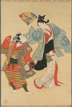 Japanese-Manzai Dancers  Edo period 19th century ? Artist Unknown, Japanese-