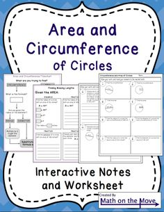 Four pages of interactive notes + a double sided worksheet.  Includes finding a missing diameter or radius when given the circumference or area.