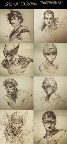 Sketch Collection! by DavidRapozaArt.deviantart.com on @DeviantArt