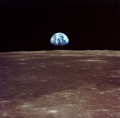 The Apollo 11 crew took this picture of the Earth rising over the moon's horizon from lunar orbit in July of before Neil Armstrong and Buzz Aldrin landed on the surface. At the time, the crew was some miles away from home. Mission Apollo 11, Apollo 11 Crew, Apollo Missions, John Glenn, Moon Landing Photos, Apollo 11 Moon Landing, Nasa Moon Landing, Apollo Space Program, Buzz Aldrin