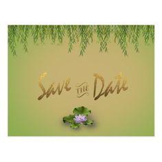 Lotus Flower Greenery Wedding Save The Date Postcard