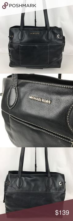 "Michael Kors Mae Large East West Drawstring Bag Authentic. New, with Tags. Some minor edge peeling on one handle. See photos.  The ever-chic and minimalist Mae tote comes beautifully designed in soft Venus cow leather. Double handles with 10"" drop. Top zip closure. Exterior features gold-tone hardware and 1 front snap slip pocket. 1 zip pocket, 4 pockets. 15-1/2"" W x 11-1/2"" H x 6"" D. Style 30S6GM5T7L. RB603.  Thank you for your interest!   PLEASE - NO TRADES / NO LOW BALL OFFERS / NO OFFERS…"
