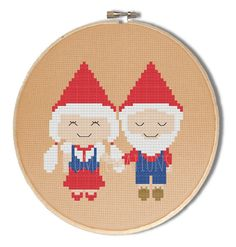 Gnome cross stitch pattern - kawaii gnome couple - cross stitch pdf pattern - garden gnome pattern - INSTANT DOWNLOAD
