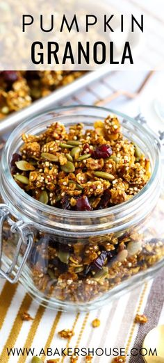 Pumpkin granola is crunchy, fragrant, and the perfect way to celebrate pumpkin season! Make this homemade granola with pumpkin puree, pepitas, and filling ingredients like oats and quinoa. It's a great breakfast, lunch, or on the go snack with milk.
