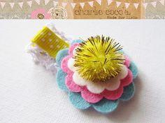 Baby/Girls Wool Felt Flower Hair Clip www.charliecocos.etsy.com