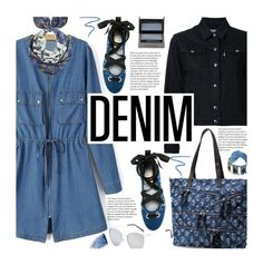 All Denim, Head to Toe by beebeely-look on Polyvore featuring Maison Kitsuné, Cara, Unpaired, Burberry, Sisley, Marc Jacobs, StreetStyle, DenimDress, alldenim and twinkledeals