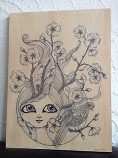 Miss Blossom and the Bird - fine liner drawing on 60x45cm wood panel by Danielle Reck. www.daniellereck.com