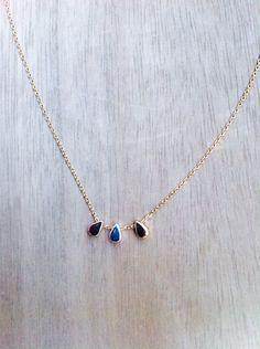 #gargantilla en oro suave con tres lágrimas en plata, oro amarillo suave y oro rosa. #jewellery #joyas www.plumesy.com