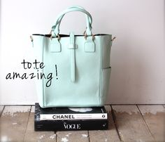 tote, mint, mint tote, handbag, spring style, inside blush, blush boutique, blush style, display, vogue, chanel, coffee table books, style,