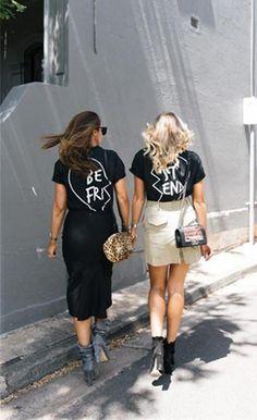 Best friend Letter Print Fashion T Shirt Black